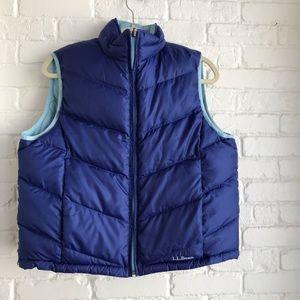 LL Bean Reversible Blue poofy vest sZ large